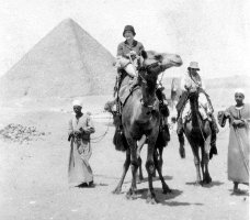 Mary MacLean Macky riding a camel in Egypt, 1933