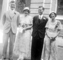 WAM and MMM wedding day, 1933, with Geoff Greenbank and Mary Walla
