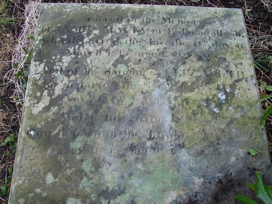 Drumhaggart gravestone of James Macky and his daughters Elizabeth and Dorcas