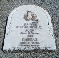 Headstone of John and Thomas Mackie