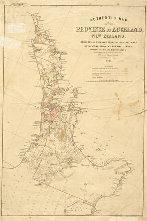 Authentic map of the province of Auckland, New Zealand, reduced and engraved from the original maps of the Commissioners for Waste Lands for Alexr. F. Ridgway, by John Dower [1861]